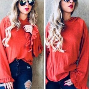 Ruffle Bell Sleeve Grapefruit Hooded Pullover Top!